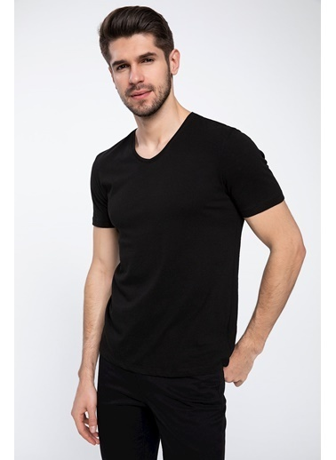 DeFacto Slim Fit V Yaka Basic T-shirt Siyah
